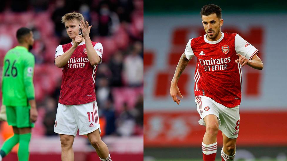 Martin Odegaard y Dani Ceballos, en partidos de esta temporada con el Arsenal. CORDONPRESS