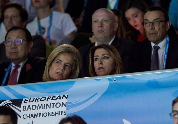 Susana Díaz y Fátima Báñez en el Campeonato de Europa de badminton