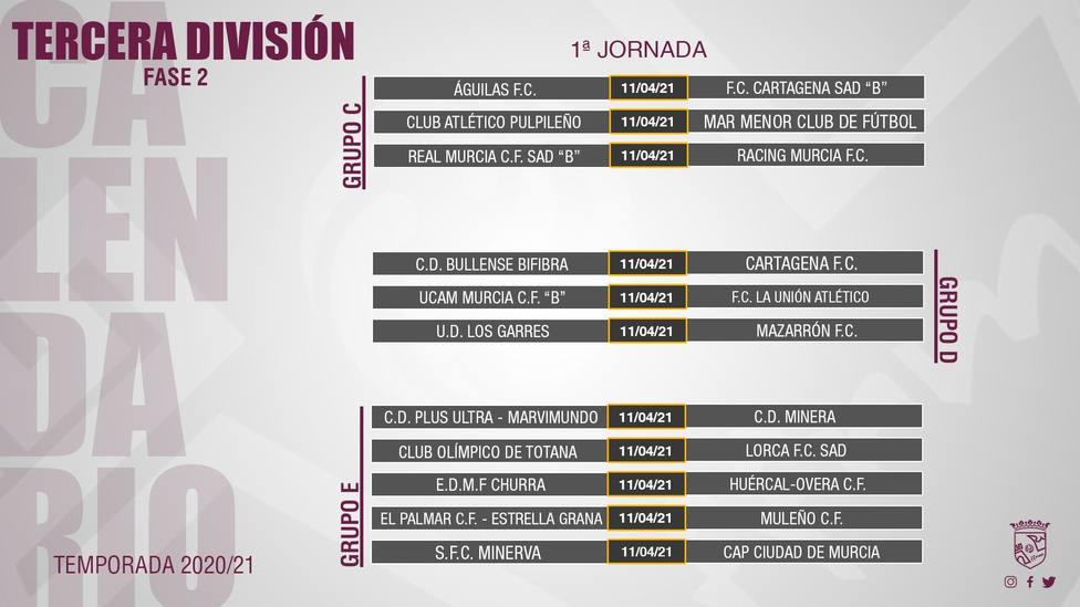 Ya se conoce el calendario de la Segunda Fase de Tercera División que arranca el 11 de abril
