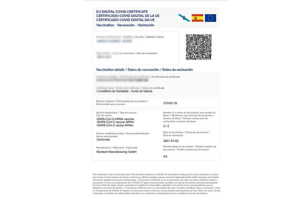 Uno de los certificados de vacunación