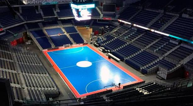 El Wizink Center de Madrid, con la pista azul para la disputa de la Copa de España de fútbol sala (FOTO: LNFS)