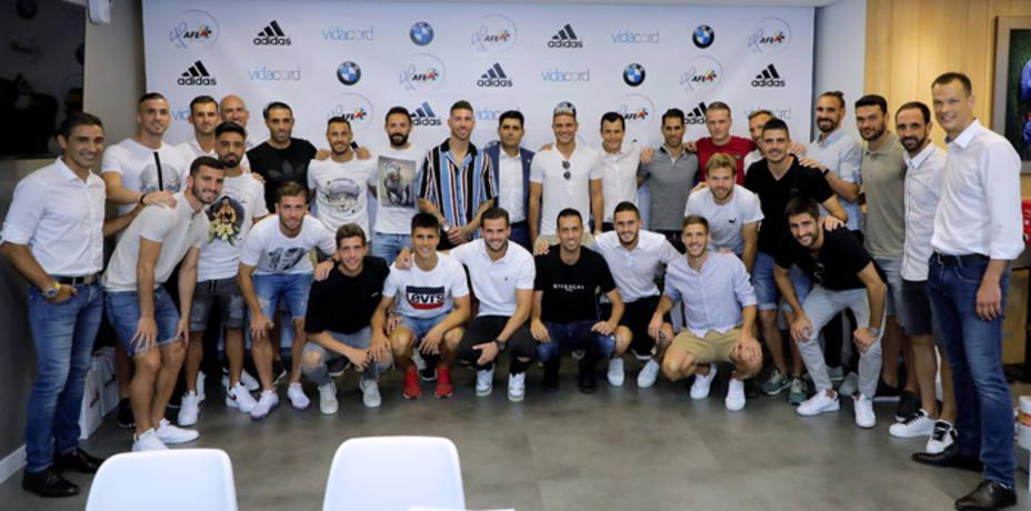 Los jugadores españoles en la reunión de la AFE