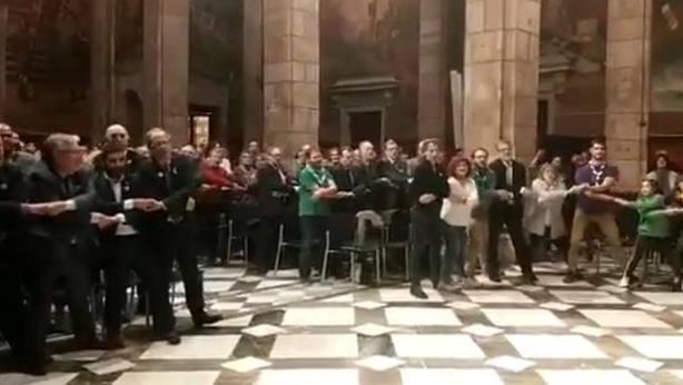 Quim Torra durante el cierre del acto de conmemoración