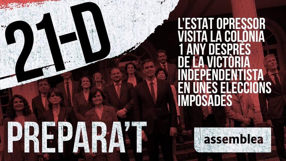 La ANC prepara protestas contra el Consejo de Ministros del 21 de diciembre en Barcelona
