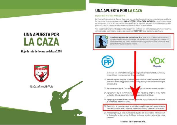 Cazadores andaluces agradecen a PP y Vox su reconocimiento a la caza en el acuerdo para investir a Moreno