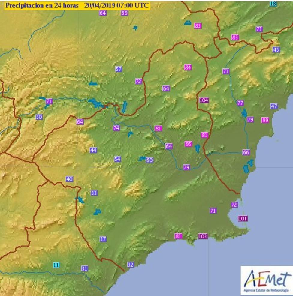 La borrasca deja lluvias por encima de 60 l/m2 en 24 horas en 70 pluviómetros de la cuenca del Segura