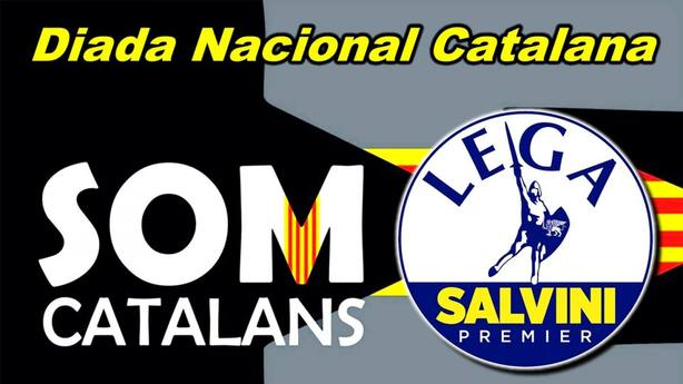 Cartel en el que se anuncia la llegada de La Liga de Salvini
