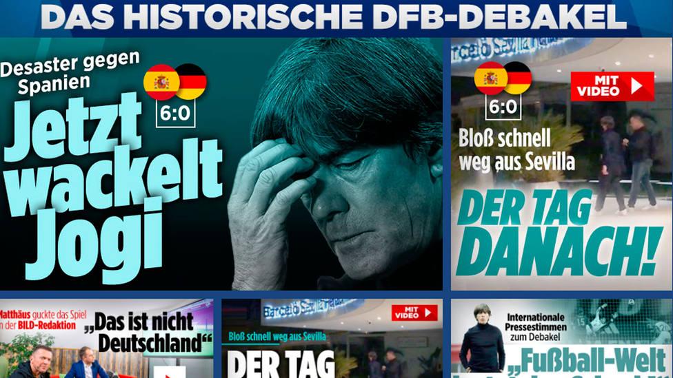 El diario Bild dedica varias noticias a un 6-0 que califican de debacle histórica
