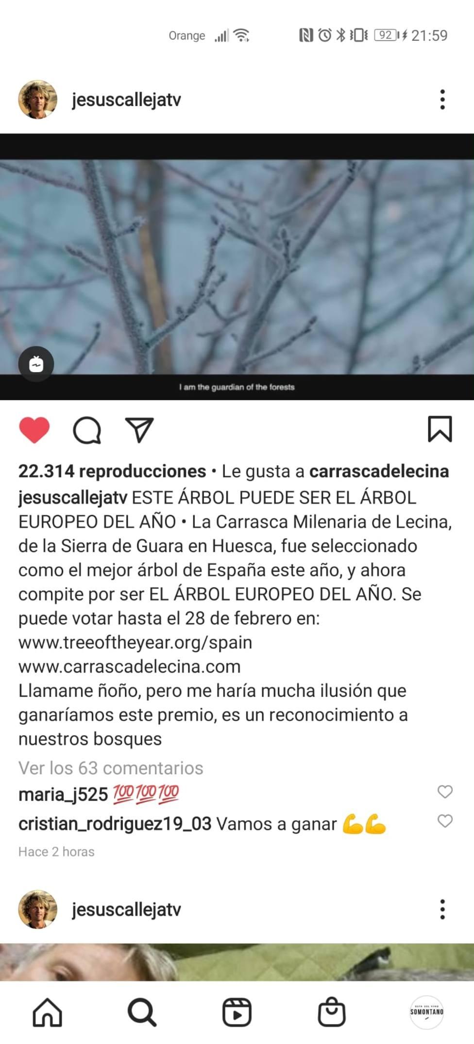 Jesús Calleja apoya carrasca Lecina