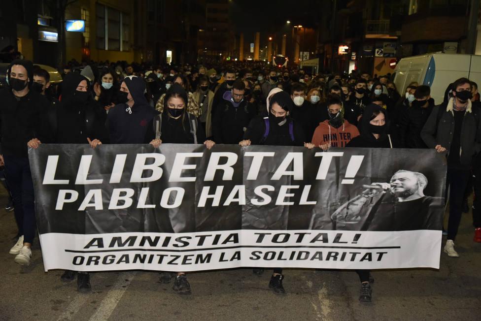 Protesta en Lleida ante la cárcel donde se encuentra Pablo Hasel