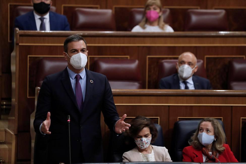 Pedro Sánchez en la sesión de control al Gobierno en el Congreso de los Diputados