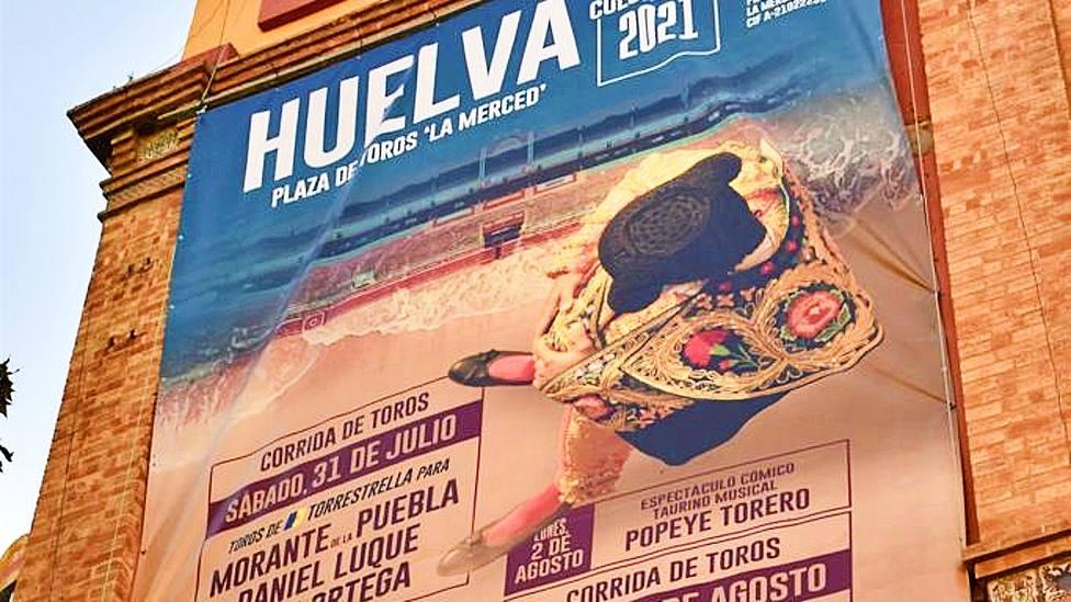 Detalle del cartel gigante anunciador de la Feria de Colombinas 2021