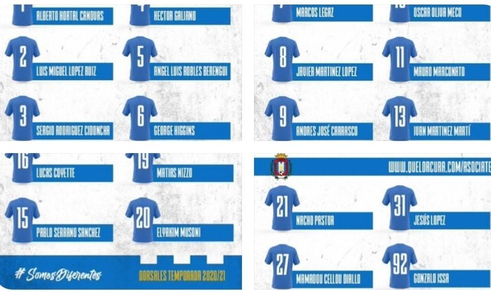 Estos serán los dorsales del CF Lorca Deportiva para este curso