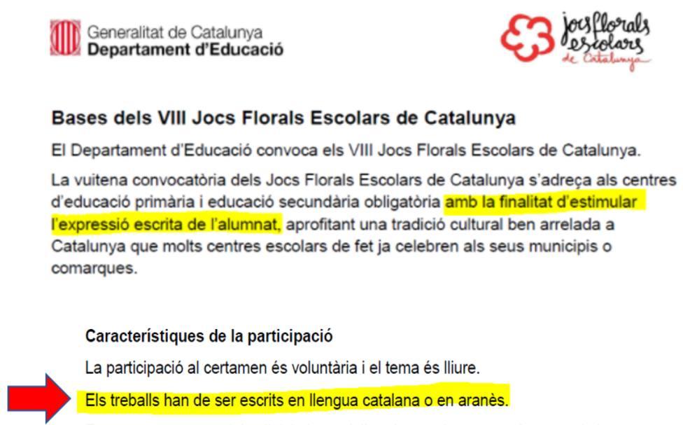 La Generalitat convoca un premio literario para fomentar la expresión escrita, pero sólo en catalán