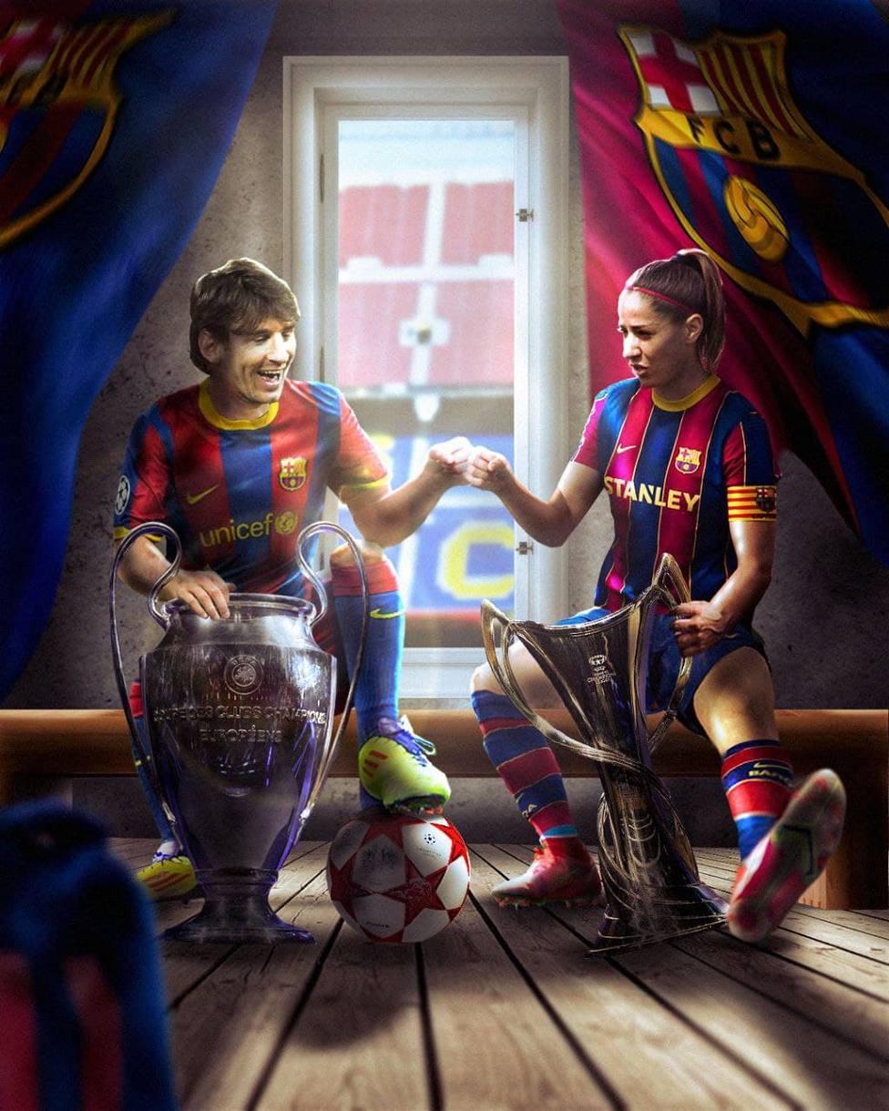 Vicky Losada y Leo Messi, capitanes del FC Barcelona campeones de Europa