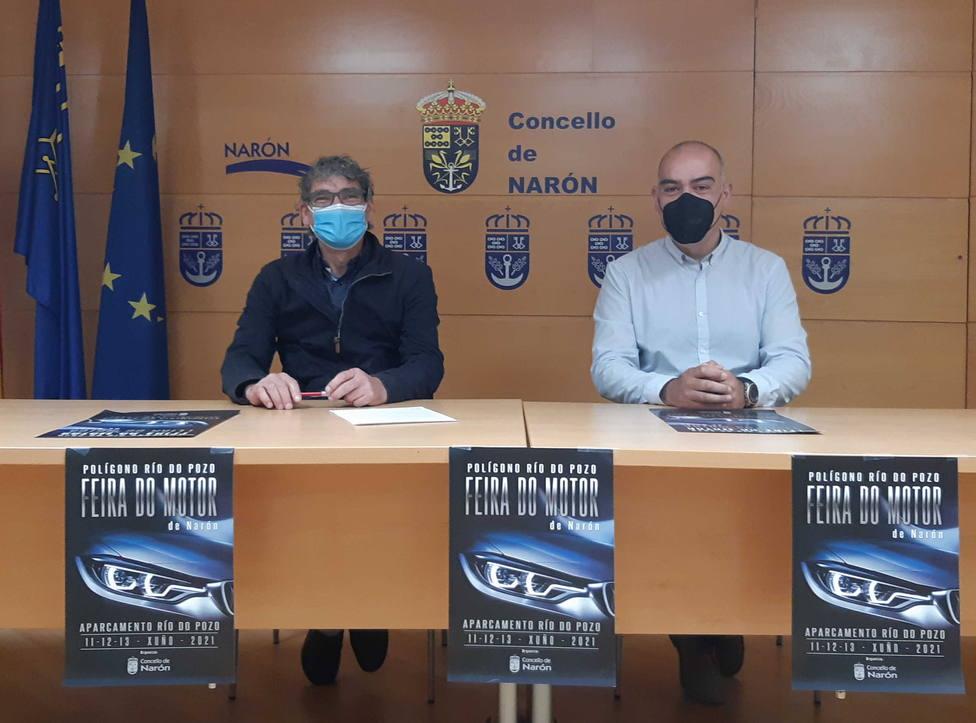 Los concejales Santiago Galego y David Pita en la presentación del acto. FOTO: concello de Narón