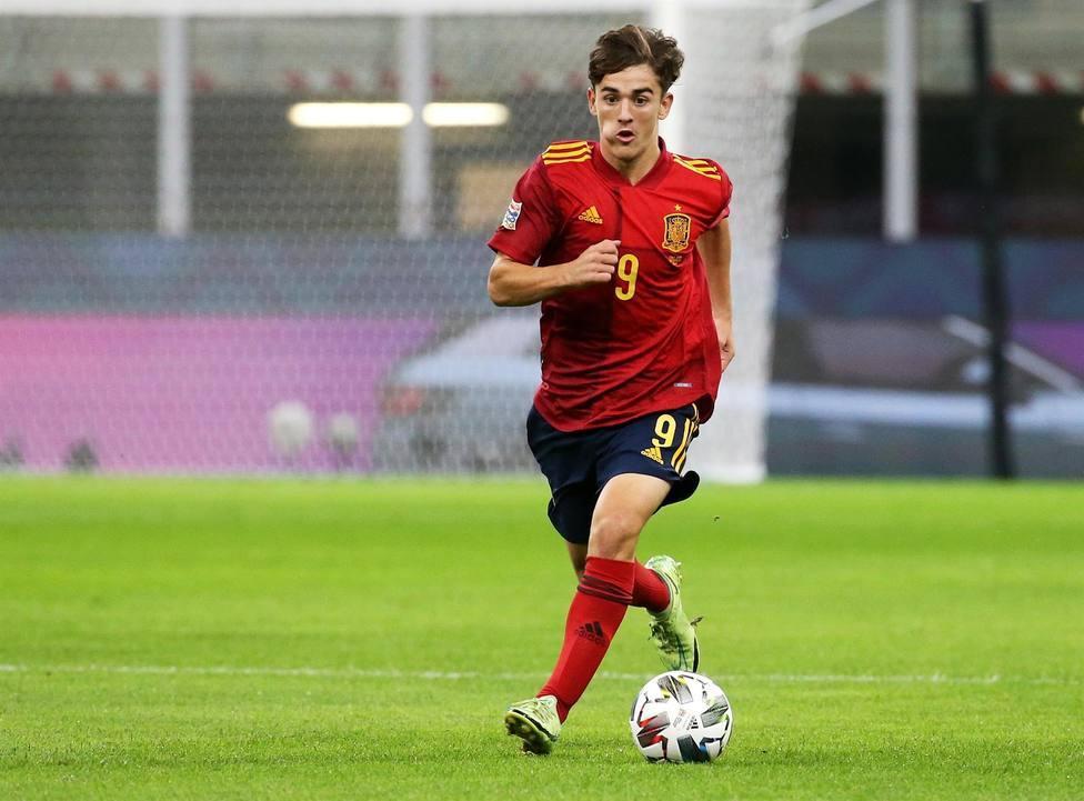 Gavi, en el partido frente a Italia