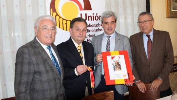 Antonio López Gibaja, Jesús Fernández, Antonio López Ribas y Georges Marcillac, durante el acto de la UAATM