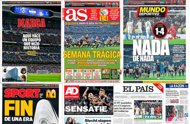 La prensa deportiva española recoge este miércoles en sus portadas la  eliminación del Real Madrid a manos del Ajax en la Champions. 522f9c5a6f473