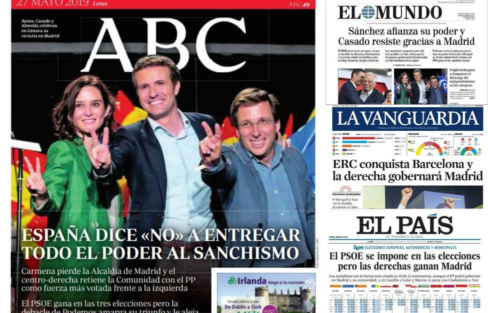 La victoria socialista y la resistencia de Casado gracias a Madrid, portada en la prensa