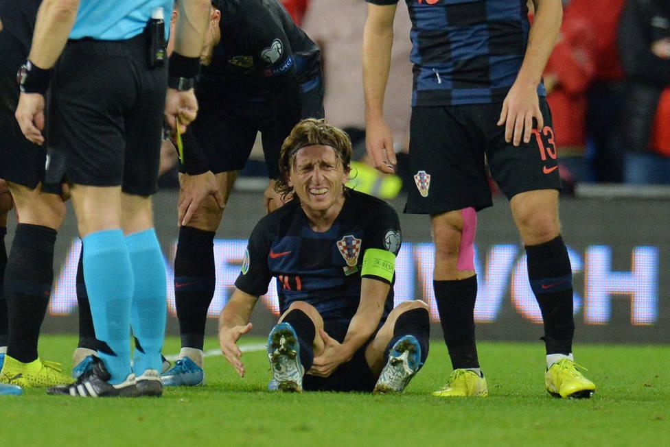 Modric, lesionado en su partido ante Gales (EFE)