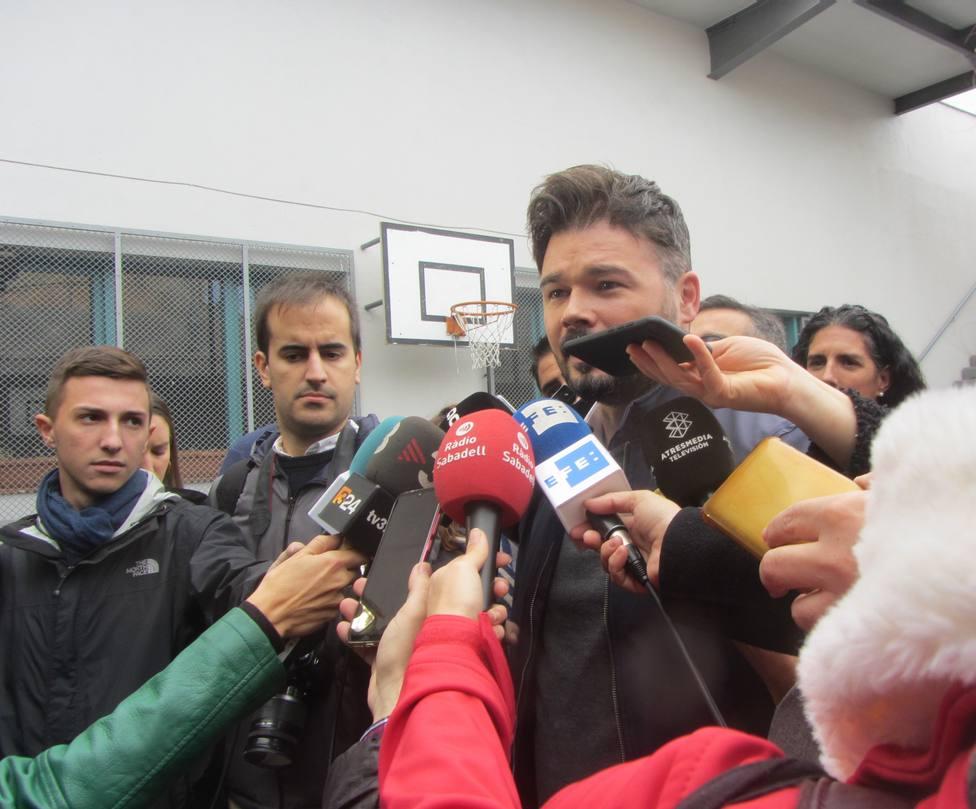Rufián (ERC) dice que los catalanes hablan votando pero los opresores no necesitan urnas
