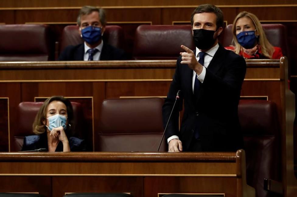 El líder del PP, Pablo Casado, durante su intervención en la sesión de control al Ejecutivo este miércoles en