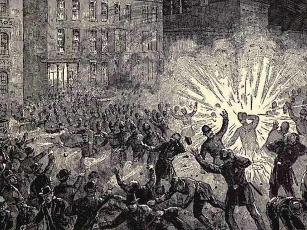 Grabado de la explosión en Haymarket, Chicago (EEUU)
