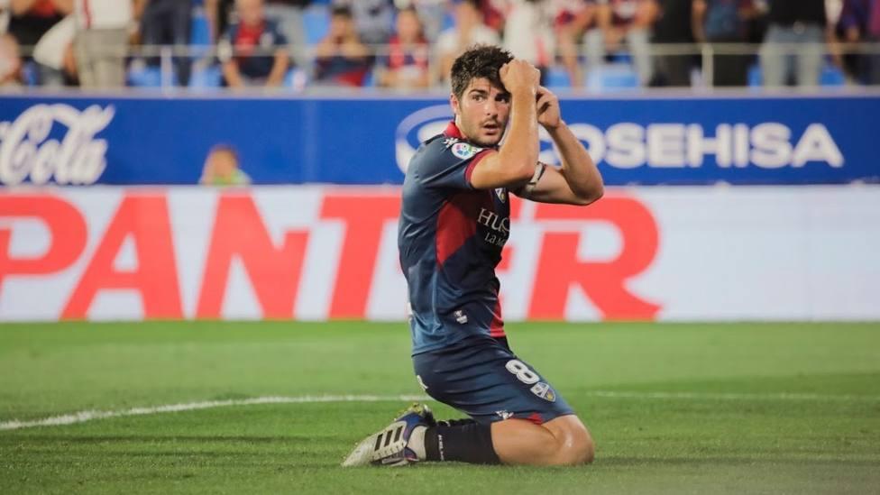 Melero, en un partido con el Huesca