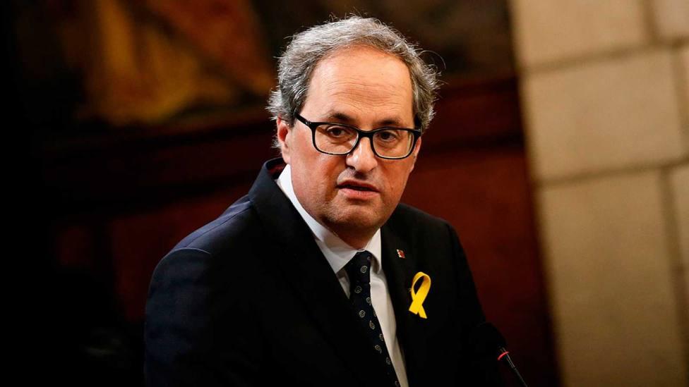 Torra desafía al Tribunal de Justicia catalán y afirma que no retirará el lazo amarillo de la Generalitat