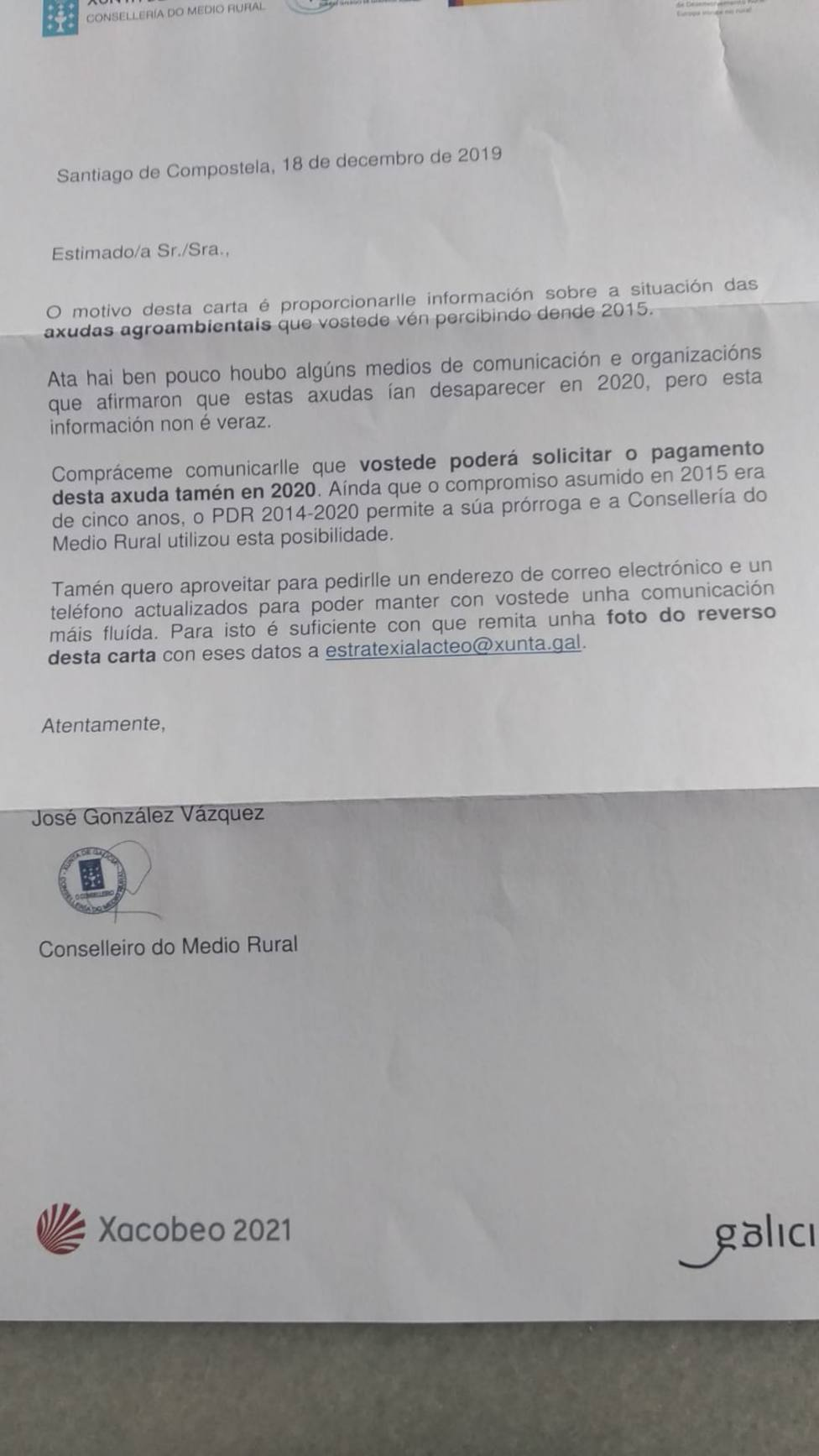 UU.AA acusa a la Xunta de electoralismo por la carta para informar de la prórroga en ayudas agroambientales