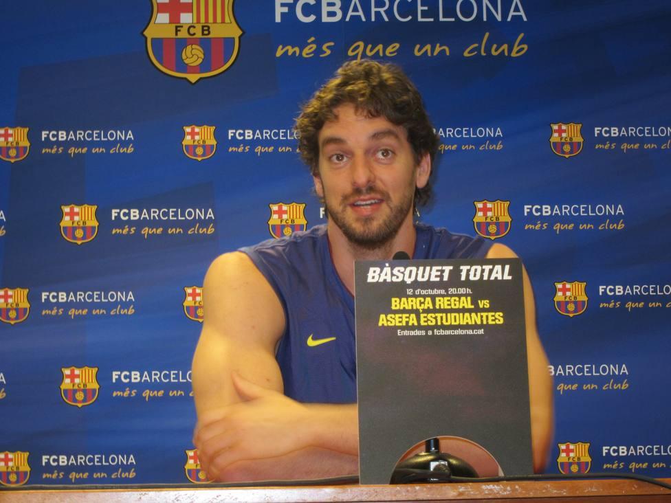 Pau Gasol, en una rueda de prensa en Barcelona