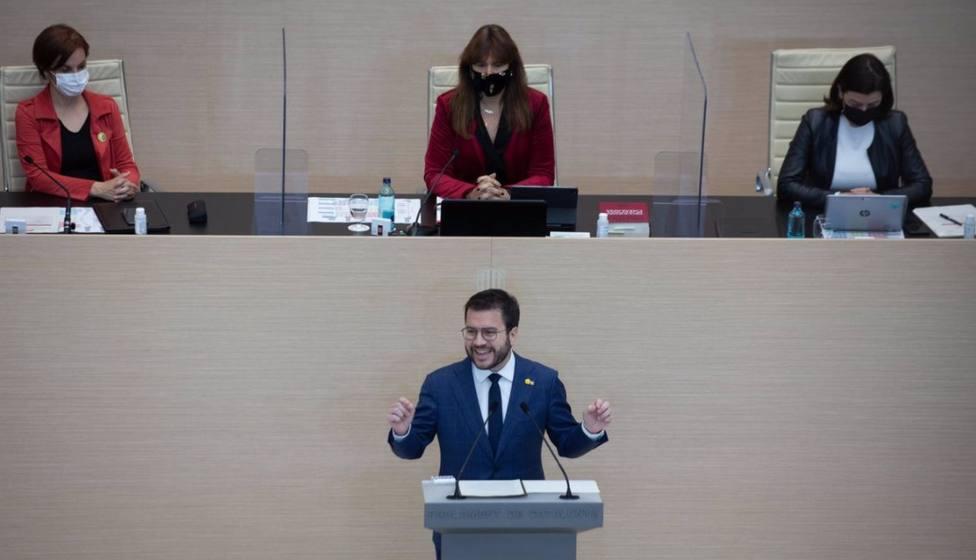 Un momento de la segunda sesión del debate de investidura de Pere Aragonès