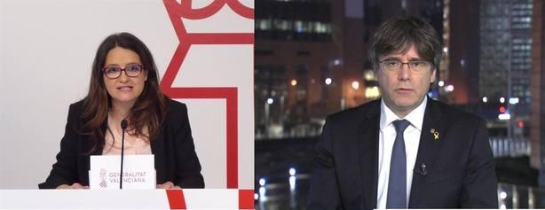 Oltra afirma que Puigdemont está por ahí de comilonas y él le invita a sus viajes para que opine con fundamento