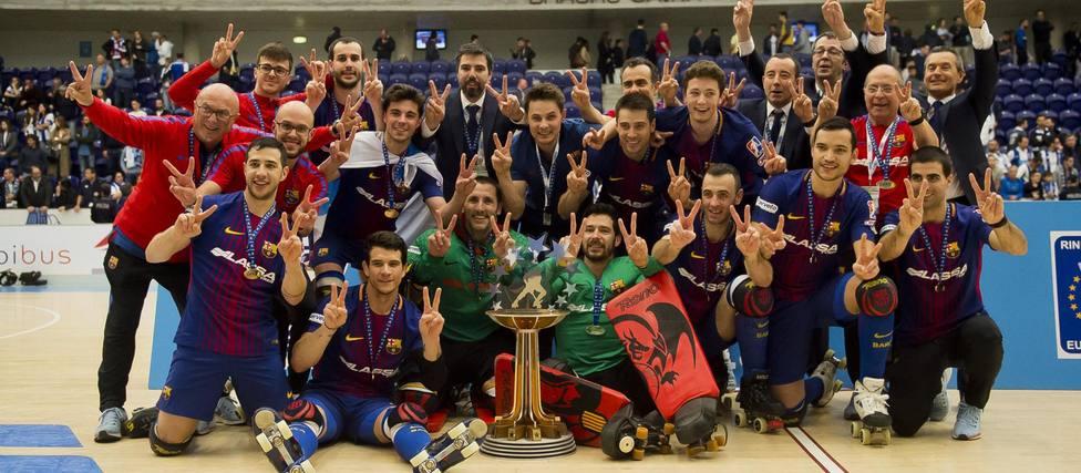 El Barça campeón de la OK Liga y el CP Manlleu de la competición femenina