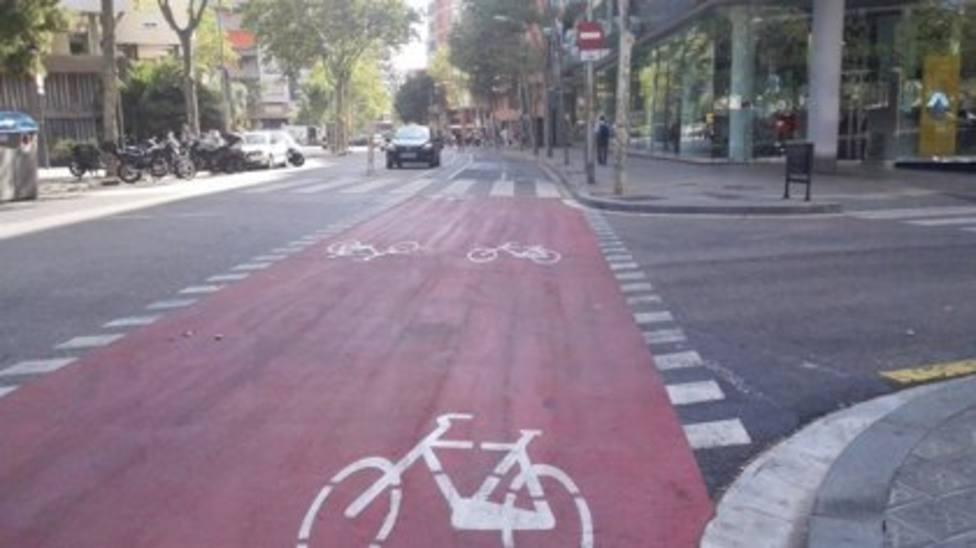 Carril bici entre la calle de Numà ncia y de Marqu�s de Sentmenat