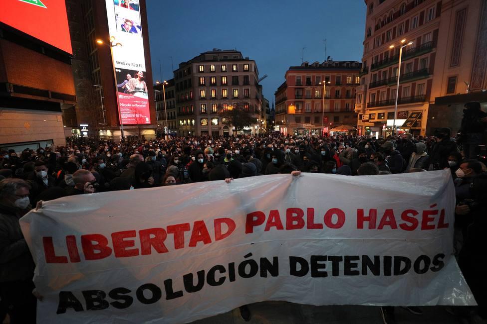 La nueva manifestación en Madrid para apoyar a Hasél transcurre sin incidentes