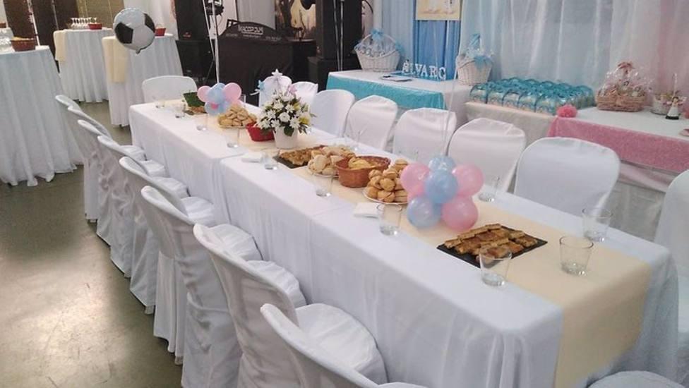 Montaje para la celebración de un banquete de comunión