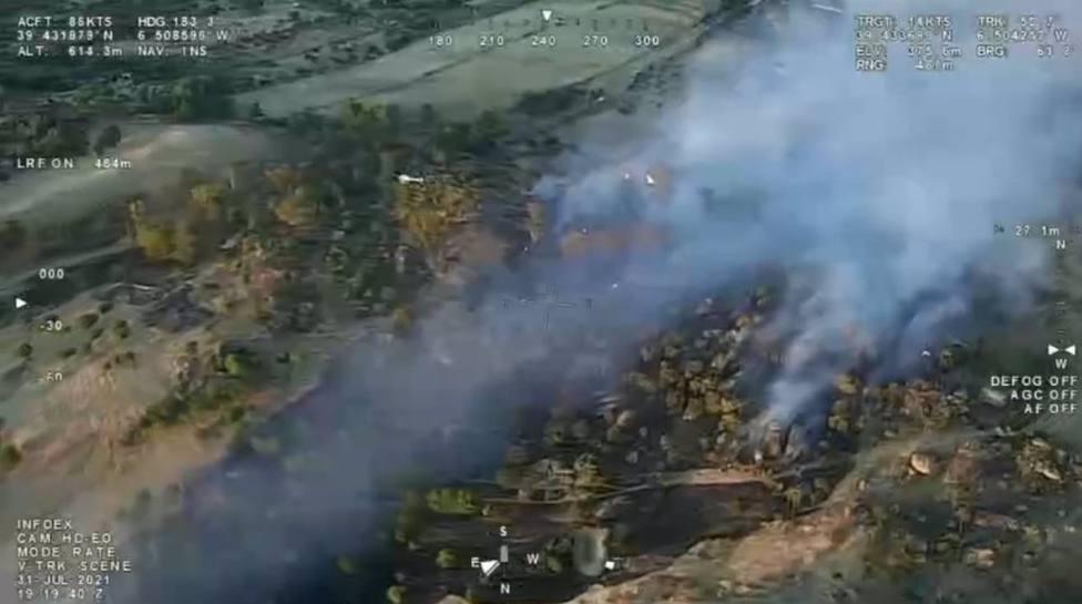 Incendios.- El Infoex estabiliza el incendio de Malpartida de Cáceres y queda desactivado el nivel 1