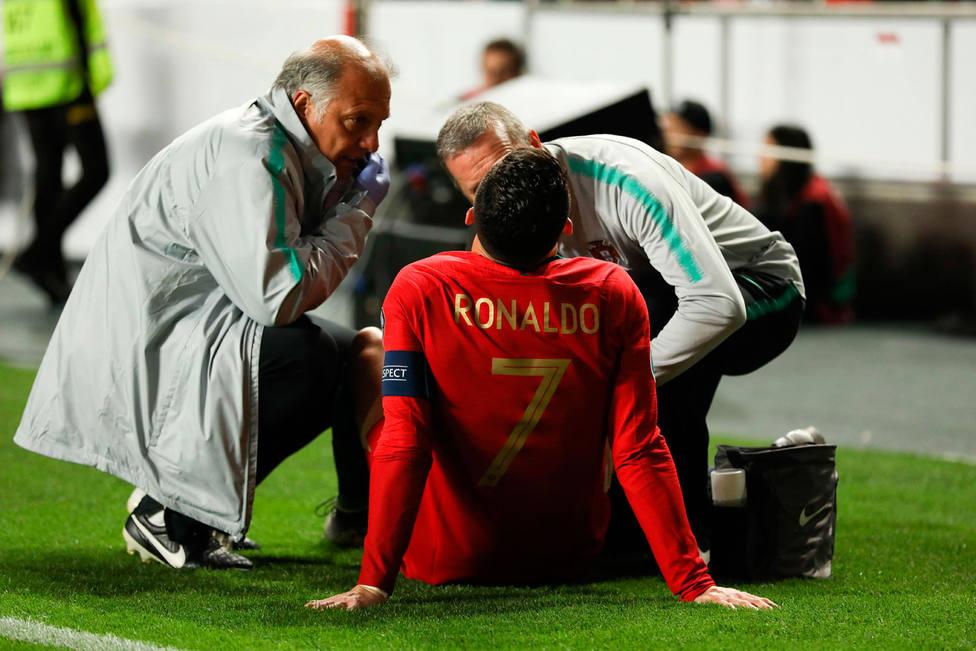Cristiano Ronaldo, lesionado con Portugal (EFE)