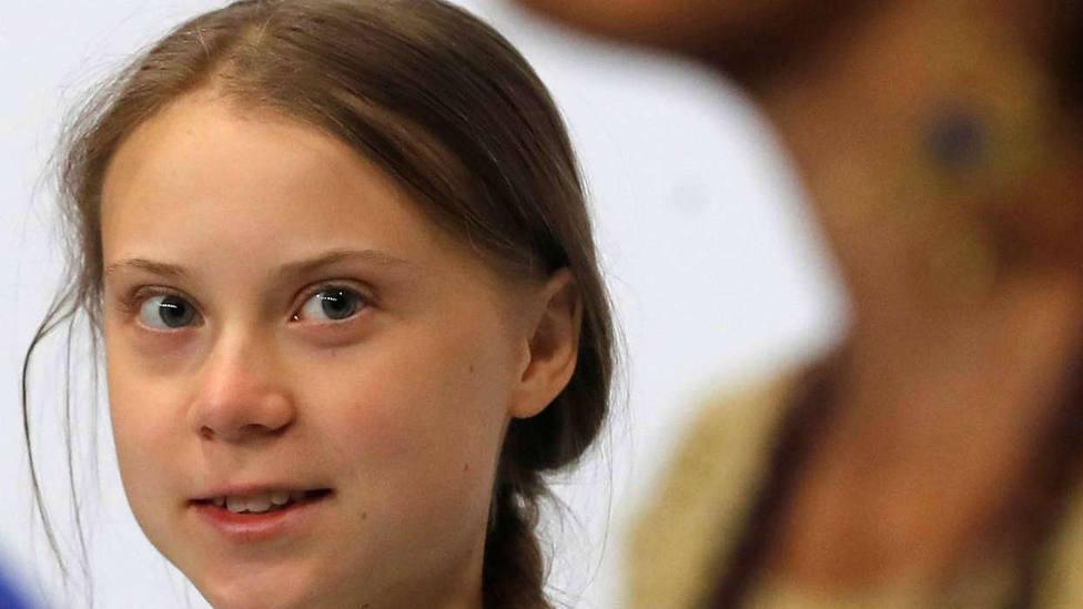Greta Thunberg en rueda de prensa con activistas climáticos