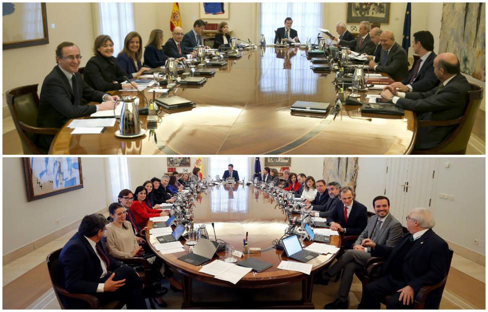 El Consejo de Ministros, cuatro años después: casi el doble de políticos en torno a la mesa