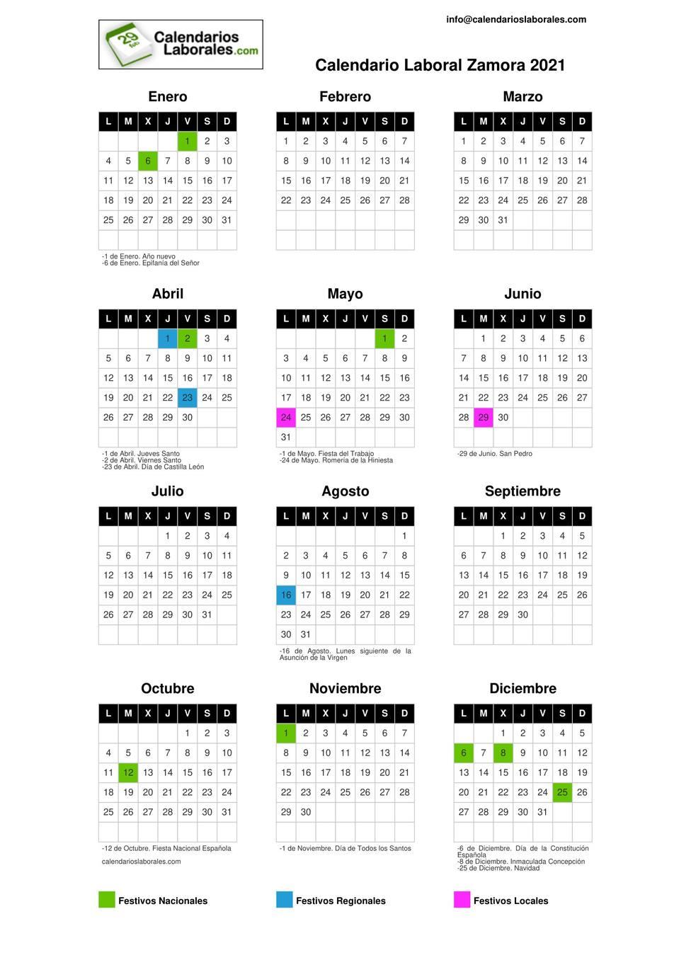 Calendario Laboral 2021 zamora
