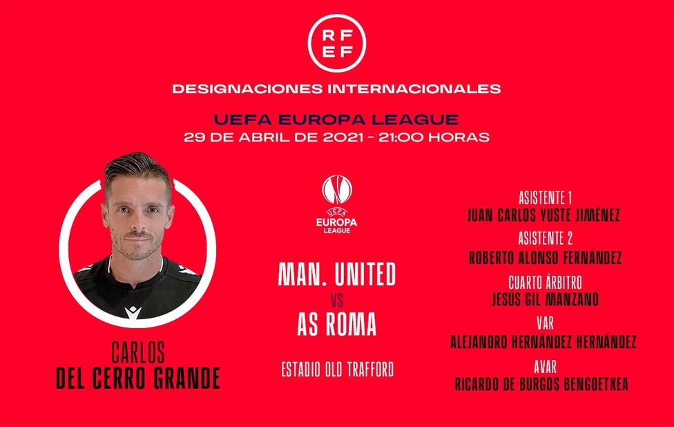 Carlos del Cerro Grande arbitrará el Manchester United-Roma