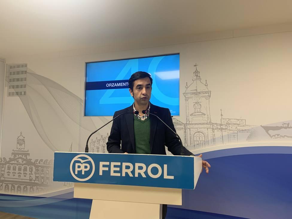 Rey Varela compareció en rueda de prensa en la sede ferrolana de los populares - FOTO: PP Ferrol