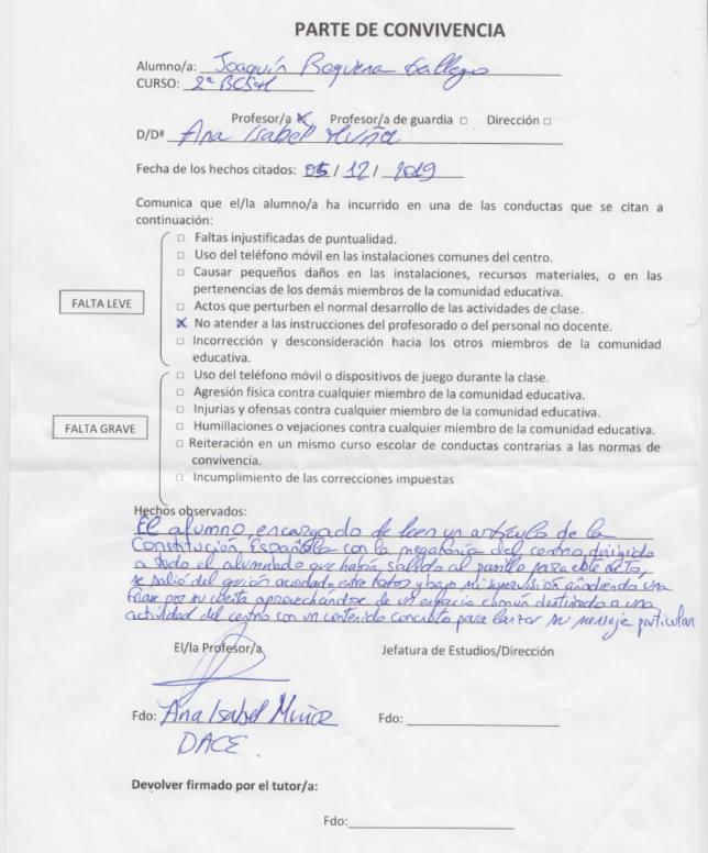 Parte de convivencia de la profesora Ana Isabel Muñoz. Fuente: Cadena COPE