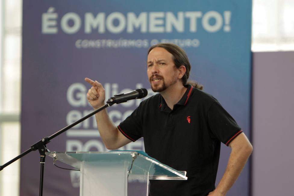 Pablo Iglesias durante el mitin de las elecciones gallegas en Vigo