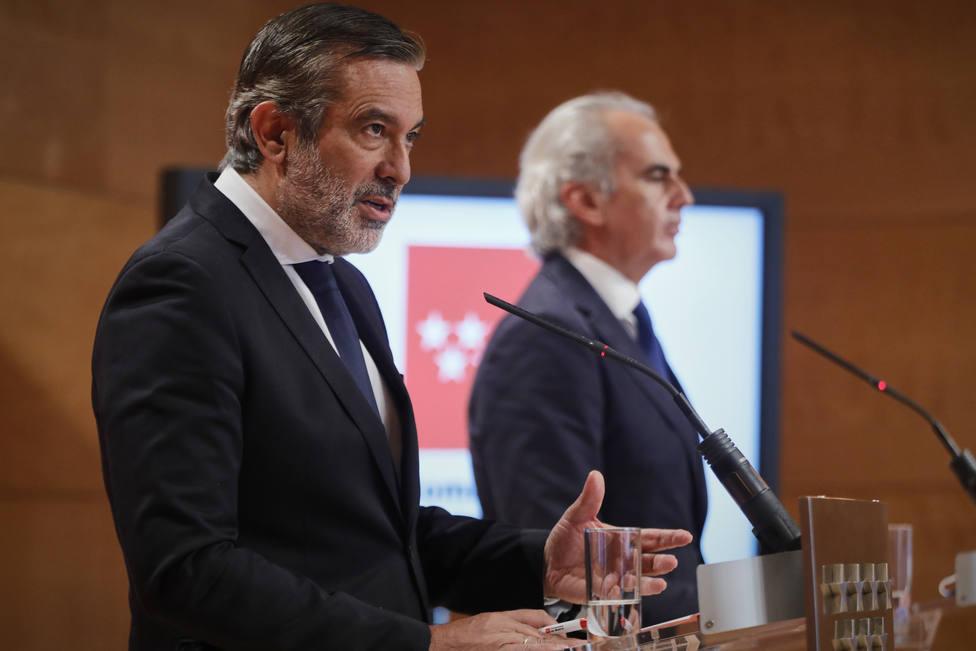 Rueda de prensa de Madrid tras la presentación de un recurso contra las medidas de confinamiento del Gobierno