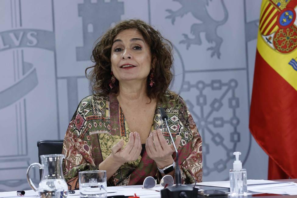 La ministra de Hacienda y portavoz del Gobierno, María Jesús Montero, durante una rueda de prensa