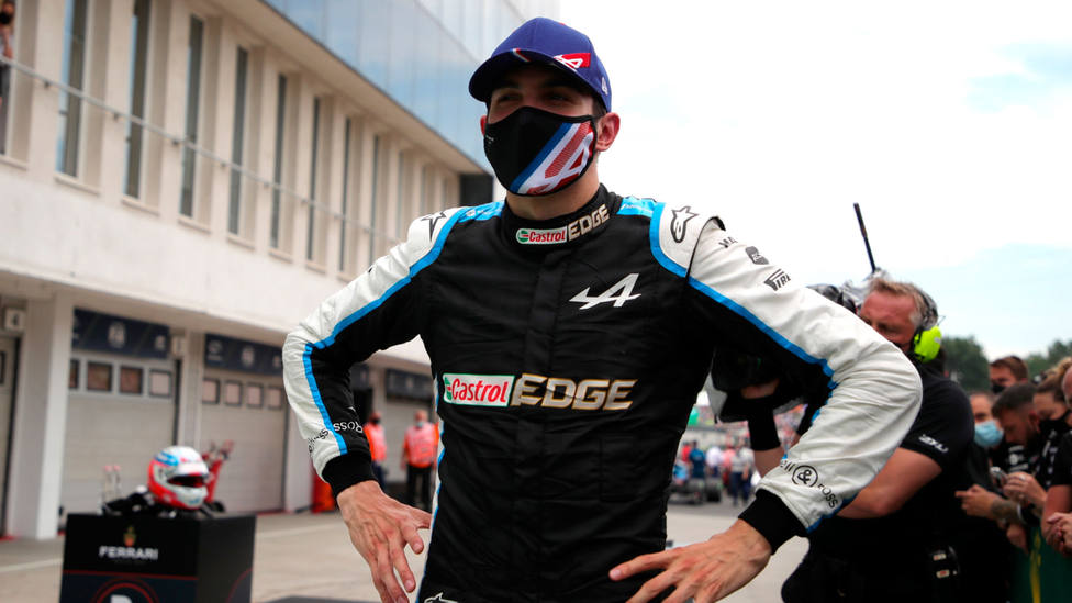 Esteban Ocon, tras conseguir su primera victoria de Fórmula 1. EFE